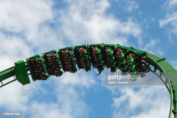 upside down in the clouds - roller coaster - orlando florida imagens e fotografias de stock
