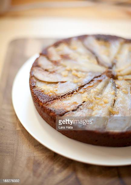 Upside down pear and ginger cake