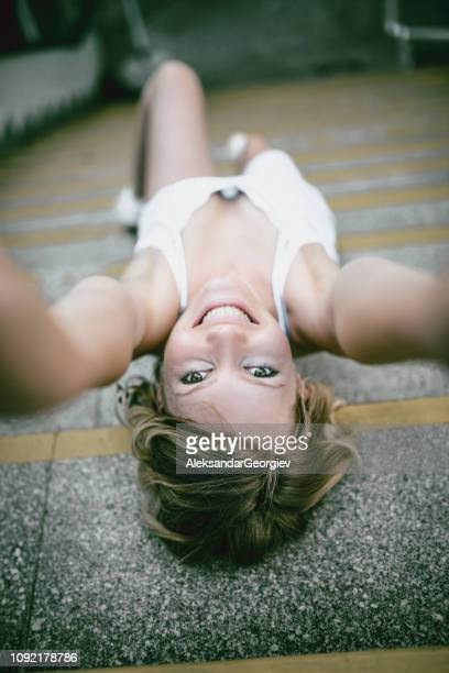 Upside Down Selfie On a Stairs