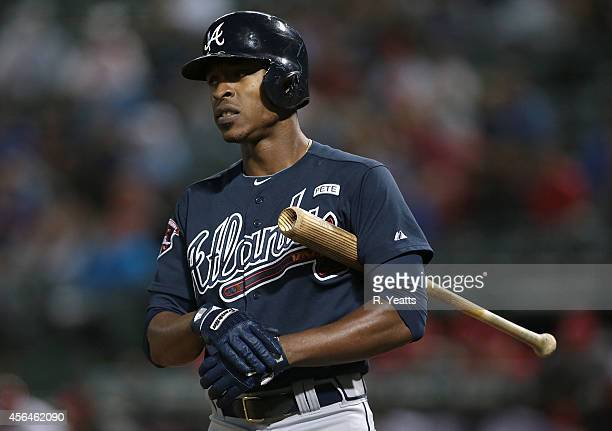 J Upton of the Atlanta Braves hits in the ninth inning against the Texas Rangers at Globe Life Park in Arlington on September 12 2014 in Arlington...