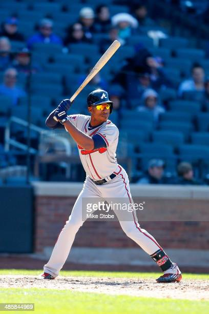 J Upton of the Atlanta Braves in action against the New York Mets at Citi Field on April 20 2014 in the Flushing neighborhood of the Queens borough...
