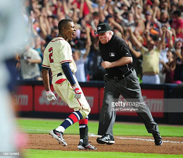 B J Upton of the Atlanta Braves reacts after knocking in the gamewinning run in the 10th inning against the Washington Nationals at Turner Field on...