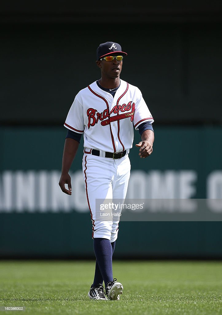 B. J. Upton #2 of the Atlanta Braves warms up prior to the start of the game against the Detroit Tigers on February 22, 2013 in Lake Buena Vista, Florida. The Tigers defeated the Braves 2-1.