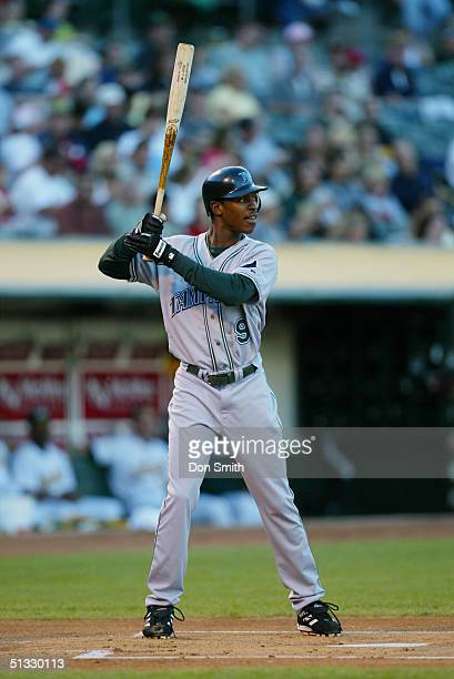 J Upton of the Tampa Bay Devil Rays bats during the MLB game against the Oakland A's at the Network Associates Coliseum on August 27 2004 The...