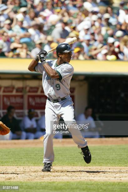 J Upton of the Tampa Bay Devil Rays bats during the MLB game against the Oakland A's at the Network Associates Coliseum on August 29 2004 The...