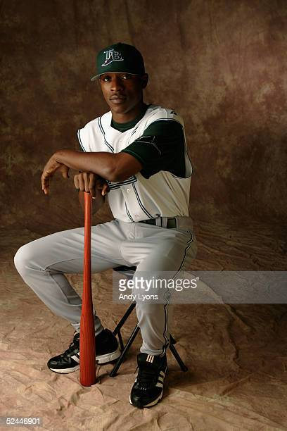 J Upton of the Tampa Bay Devil Rays poses for a portrait during Devil Rays Photo Day at the Raymond A Naimoli Baseball Complex on March 1 2005 in St...