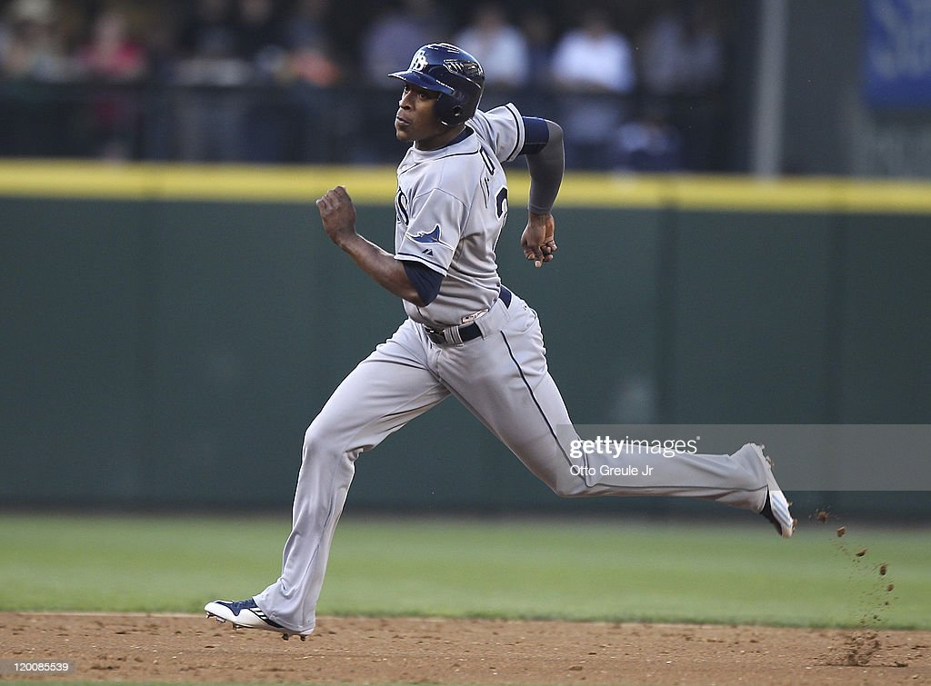 B.J. Upton #2 of the Tampa Bay Rays advances to third base in the second inning against the Seattle Mariners at Safeco Field on July 29, 2011 in Seattle, Washington. The Rays defeated the Mariners 8-0.