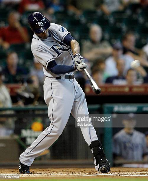 J Upton of the Tampa Bay Rays hits a three run home run in the first inning against the Houston Astros at Minute Maid Park on June 26 2011 in Houston...