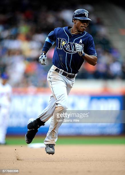 BJ Upton of the Tampa Bay Rays hits a two run home run in the seventh at Citi Field in New York June 21 2009