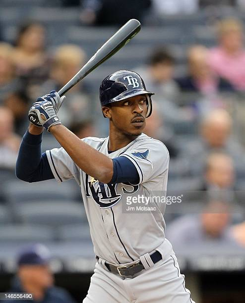 BJ Upton of the Tampa Bay Rays in action against the New York Yankees at Yankee Stadium on June 5 2012 in the Bronx borough of New York City The...