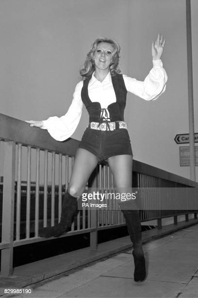 Uptotheminute travel gear cream blouse and brown hot pants for Clodagh Rodgers Britain's representative in this year's Eurovision Song Contest shown...