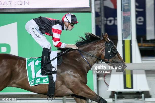 Uptown Gal ridden by Ben Allen wins the OBrien Wantirna now open FM Maiden Plate at Cranbourne Racecourse on March 09 2018 in Cranbourne Australia