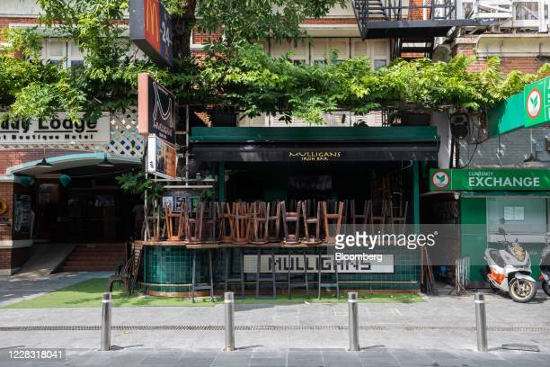 Upturned stools sit on the bar of a closed bar at a deserted Khao San Road in Bangkok Thailand on Wednesday Sept 2 2020 Thailand has reported zero...