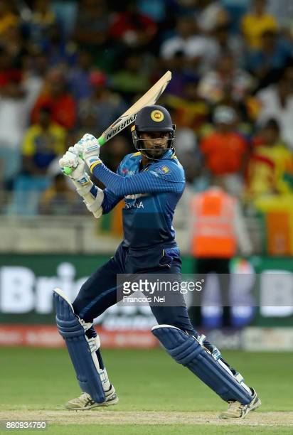Upul Tharanga of Sri Lanka bats during the first One Day International match between Pakistan and Sri Lanka at Dubai International Stadium on October...