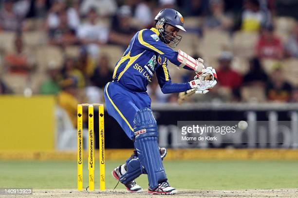 Upul Tharanga of Sri Lanka bats during the third One Day International Final series match between Australia and Sri Lanka at Adelaide Oval on March 8...