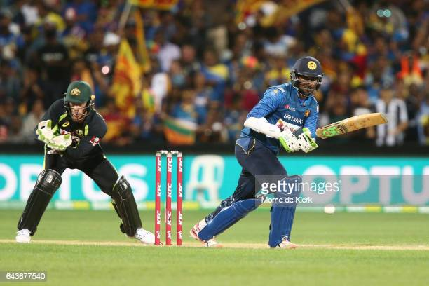 Upul Tharanga of Sri Lanka bats in front of Tim Paine of Australia during the International Twenty20 match between Australia and Sri Lanka at...