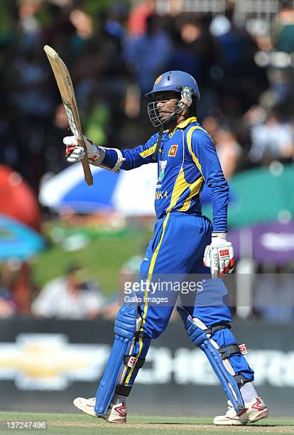 Upul Tharanga of Sri Lanka celebrates his 50 during the 3rd One Day International match between South Africa and Sri Lanka at Chevrolet Park on...