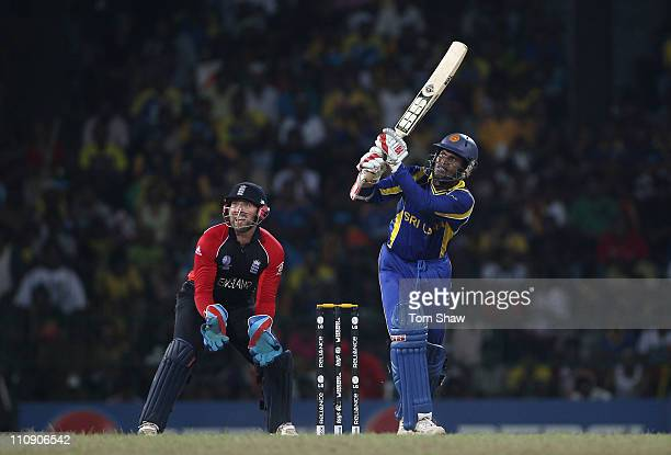 Upul Tharanga of Sri Lanka hits out during the 2011 ICC World Cup QuarterFinal match between Sri Lanka and England at the R Premadasa Stadium on...