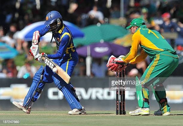 Upul Tharanga of Sri Lanka in action on his way to 50 during the 3rd One Day International match between South Africa and Sri Lanka at Chevrolet Park...