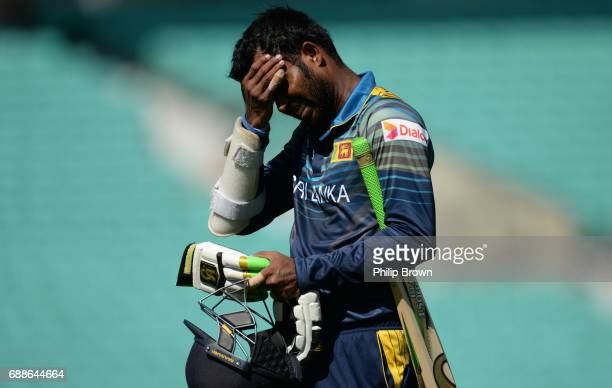 Upul Tharanga of Sri Lanka leaves the field after being dismissed during the ICC Champions Trophy Warmup match between Australia and Sri Lanka at the...