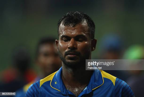 Upul Tharanga of Sri Lanka looks dejected after losing the second One Day International match between Pakistan and Sri Lanka at Zayed Cricket Stadium...