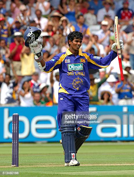 Upul Tharanga of Sri Lanka reaches his century during the NatWest Series One Day International between England and Sri Lanka at Lord's London 17th...