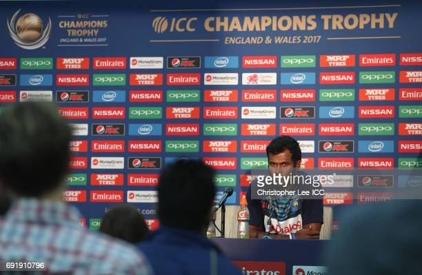 Upul Tharanga of Sri Lanka talks to the press after the match during the ICC Champions Trophy Group B match between Sri Lanka and South Africa at The...