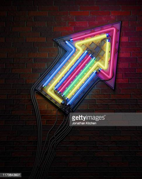upward neon arrow - aiming stock pictures, royalty-free photos & images