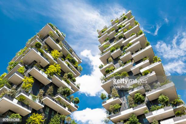 Upward view of balconies and vegetation Vertical Forest Milan Italy Architect Stefano Boeri Architetti 2014