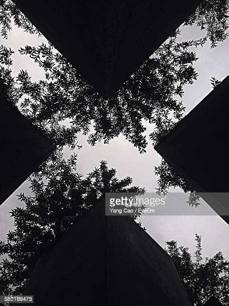 Upward View Of Built Structure Forming Cross Shape Negative Space, Tree Leaves Pattern Against Sky