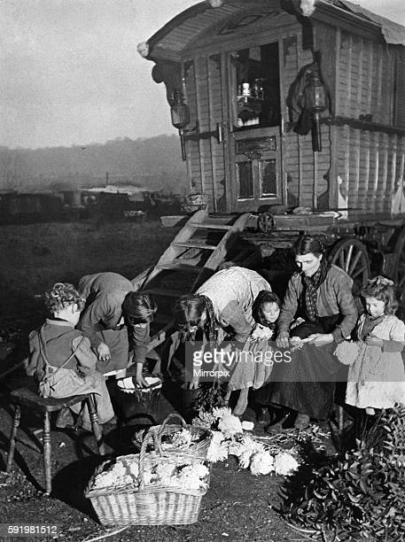ur picture shows the Smith gipsy family outside their caravan at Abbey Wood December 1941 P007195