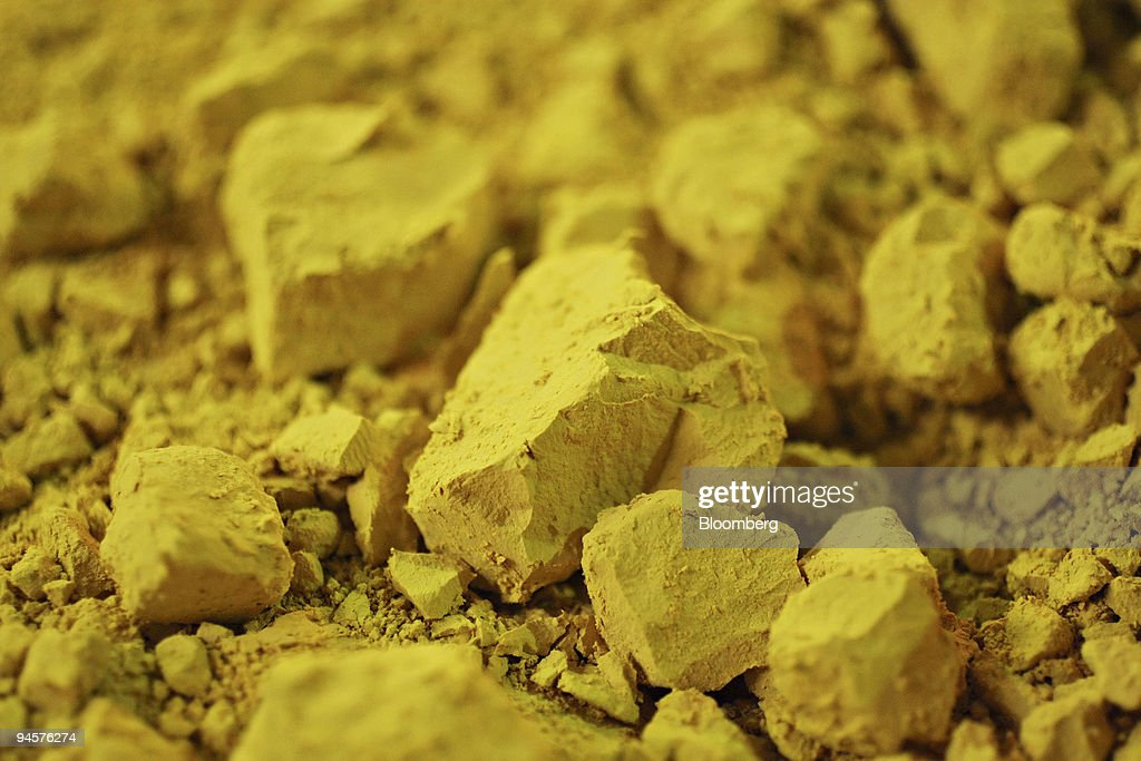 Uranium concentrate, commonly known as U3O8 or yellowcake, sits in the Uvanas processing facility near the East Mynkuduk uranium deposit in Kyzemshek, Kazakhstan, on Thursday, Oct. 18, 2007. Yellowcake is the end-product of the in-situ leaching process employed in the nearby East Mynkuduk uranium mine.