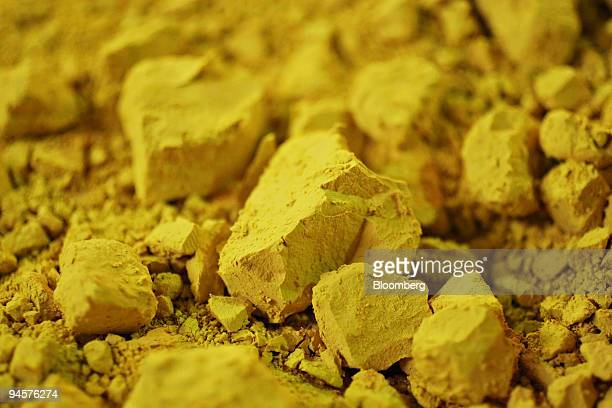 Uranium concentrate commonly known as U3O8 or yellowcake sits in the Uvanas processing facility near the East Mynkuduk uranium deposit in Kyzemshek...