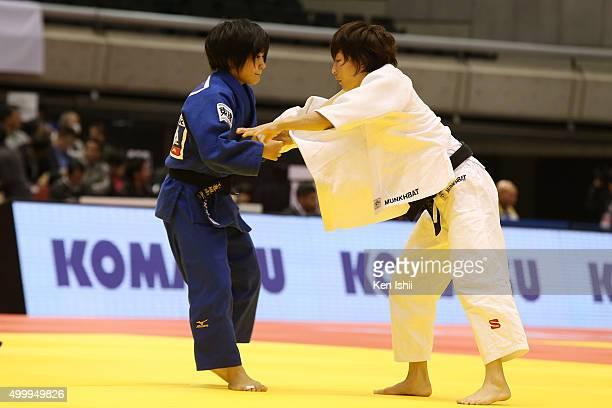 Urantsetseg Munkhbat of Mongolia and Funa Tonaki of Japan compete in the Women's 48kg preliminary at Tokyo Metropolitan Gymnasium on December 4 2015...