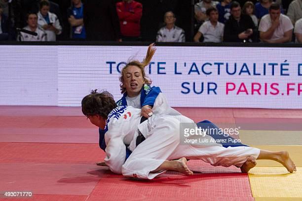 Urantsetseg Munkhbat of Mongolia attacks Charline Van Snick of Belgium during the -48kg Final of the Paris Grand Slam 2015 at the Palais Omnisports...