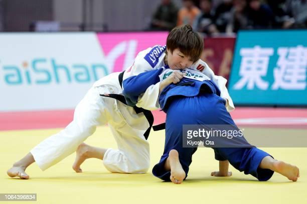 Urantsetseg Munkhbat of Mongolia competes against Funa Tonaki of Japan in the Women's 48kg final match on day one of the Grand Slam Osaka at Maruzen...