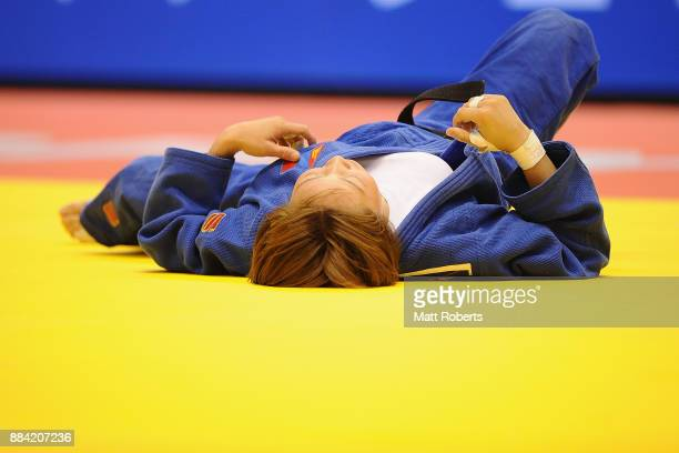 Urantsetseg Munkhbat of Mongolia looks dejected in the Women's 48kg Final against Ami Kondo of Japan during day one of the Judo Grand Slam Tokyo at...