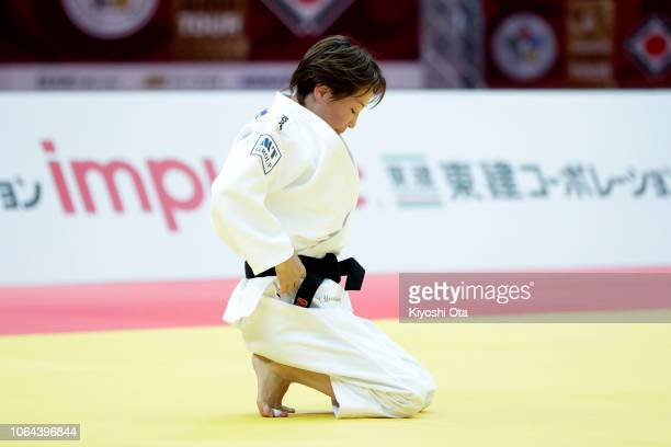 Urantsetseg Munkhbat of Mongolia reacts after losing the Women's 48kg final match against Funa Tonaki of Japan on day one of the Grand Slam Osaka at...