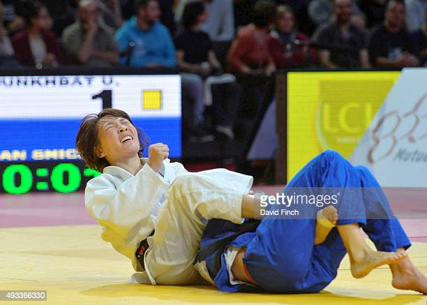 Urantsetseg Munkhbat of Mongolia reacts to her victory over Charline Van Snick of Belgium to win the u48kg gold medal during the 2015 Paris Grand...