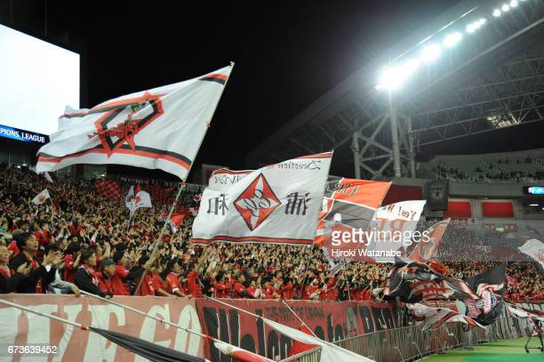 Urawa Red Diamonds fans cheer during the AFC Champions League Group F match between Urawa Red Diamonds and Western Sydney at Saitama Stadium on April...