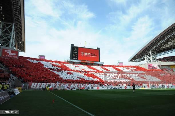 Urawa Red Diamonds Fans cheer prior to the JLeague J1 match between Urawa Red Diamonds and Kashima Antlers at Saitama Stadium on May 4 2017 in...