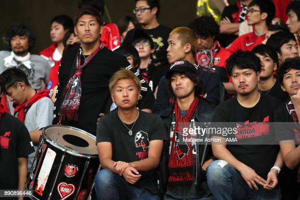 Urawa Red Diamonds fans look on prior to the FIFA Club World Cup UAE 2017 fifth place playoff match between Wydad Casablanca and Urawa Red Diamonds...