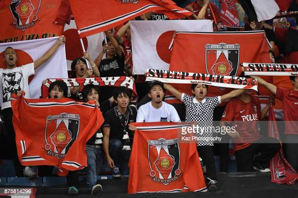 Urawa Red Diamonds fans show their support after the AFC Champions League Final 2017 first leg between AlHilal and Urawa Red Diamonds at King Fahd...