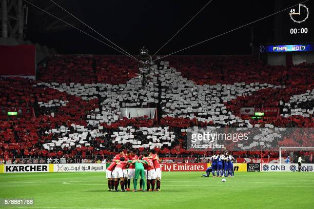 Urawa Red Diamonds fans show their support prior to the AFC Champions League Final second leg match between Urawa Red Diamonds and Al-Hilal at...