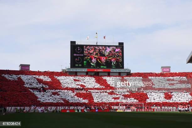 Urawa Red Diamonds fans show their support prior to the JLeague J1 match between Urawa Red Diamonds and Kashima Antlers at Saitama Stadium on May 4...