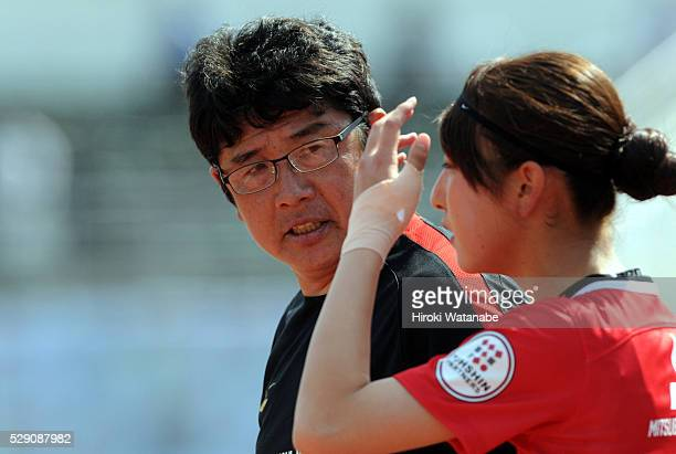 Urawa Red Diamonds Ladies head coach Yasushi Yoshida looks on during the Nadeshiko League match between Urawa Red Diamonds Ladies and Iga FC Kunoichi...