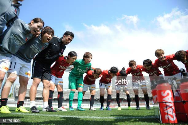 Urawa Red Diamonds Ladies Players huddle prion to the Nadeshiko League match between Urawa Red Diamonds Ladies and Mynavi Vegalta Sendai Ladies at...