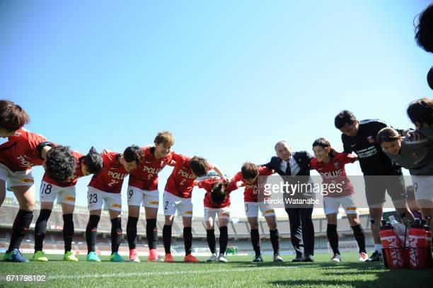 Urawa Red Diamonds Ladies Players huddle prior to the Nadeshiko League match between Urawa Red Diamonds Ladies and NTV Beleza at Urawa Komaba Stadium...