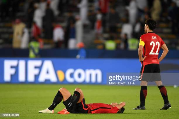 Urawa Red Diamonds look dejected after the FIFA Club World Cup match between Al Jazira and Urawa Red Diamonds at Zayed Sports City Stadium on...
