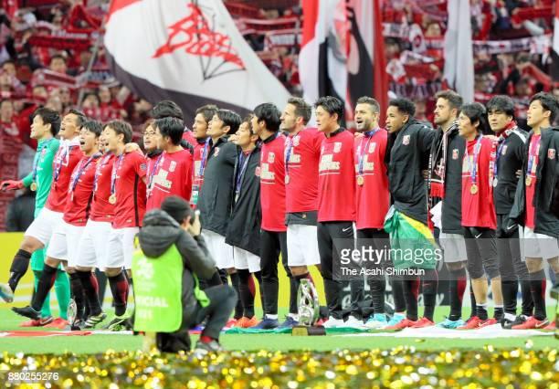 Urawa Red Diamonds players celebrate after the AFC Champions League Final second leg match between Urawa Red Diamonds and AlHilal at Saitama Stadium...